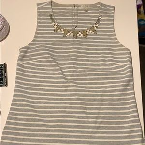 J. Crew grey white striped jeweled embellished top